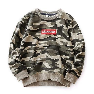 c277d3cec4 Coralup Boys  Camouflage Active Sweatshirt Kids Jumper Round Neck Pullover  Winter Long Sleeve Tops (