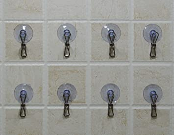 Set Of 8 Suction Cup Clips Hooks For Bathroom, Kitchen, Laundry Room, Office