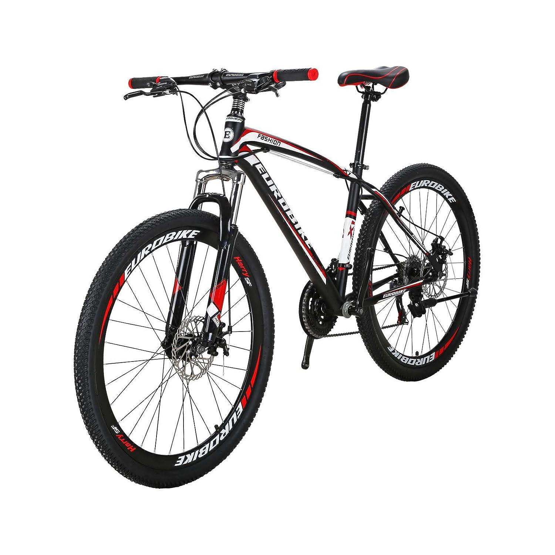 TSMBIKE X1-27.5 マウンテンバイク27.5インチ 変速21段 前3段×後7段 前後ディスクブレーキ 通勤自転車 通学マウンテン 自転車 B07B9RFXNY 黒と赤