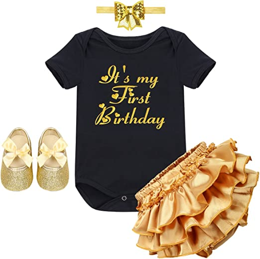 4PCS Kids Baby Girls Gold Headband+Bodysuit Romper+Shorts Shoes Clothes Outfit