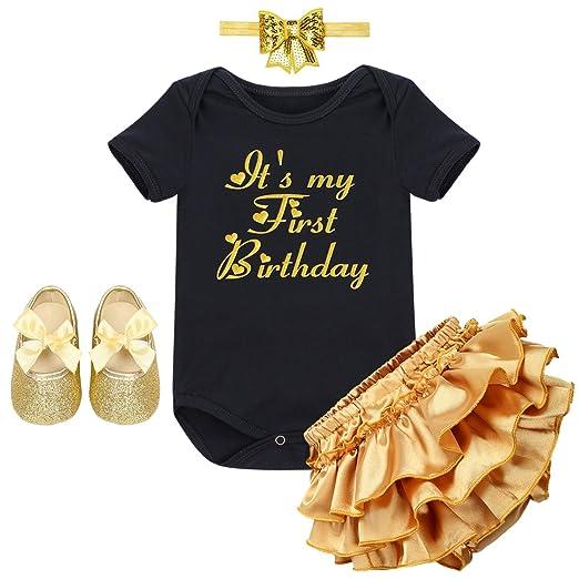 289cffd48b3 IWEMEK Baby Girl 1st Birthday Cake Smash Crown Bodysuit Romper Tutu Skirt  Headband Outfits Clothes Set