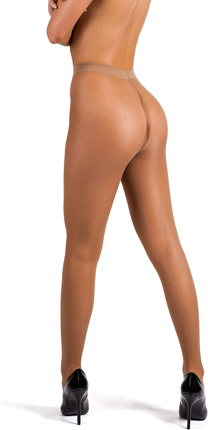 sofsy Polka-Dot Patterned Tights for Women Made in Italy Semi Sheer Pantyhose 20 Den