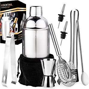 Stainless-Steel-Bartender-Kit,-Cocktail-Shaker-Bar-Set-with-Martini-Kit,Double-Measuring-Jigger,Mixing-Spoon,Liquor-Pourers,Muddler,Strainer-and-Ice-Tongs