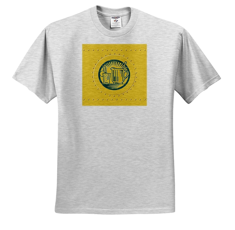 3dRose Russ Billington Designs Blue Green Lemonade Sign Over Yellow Rivet Effect T-Shirts