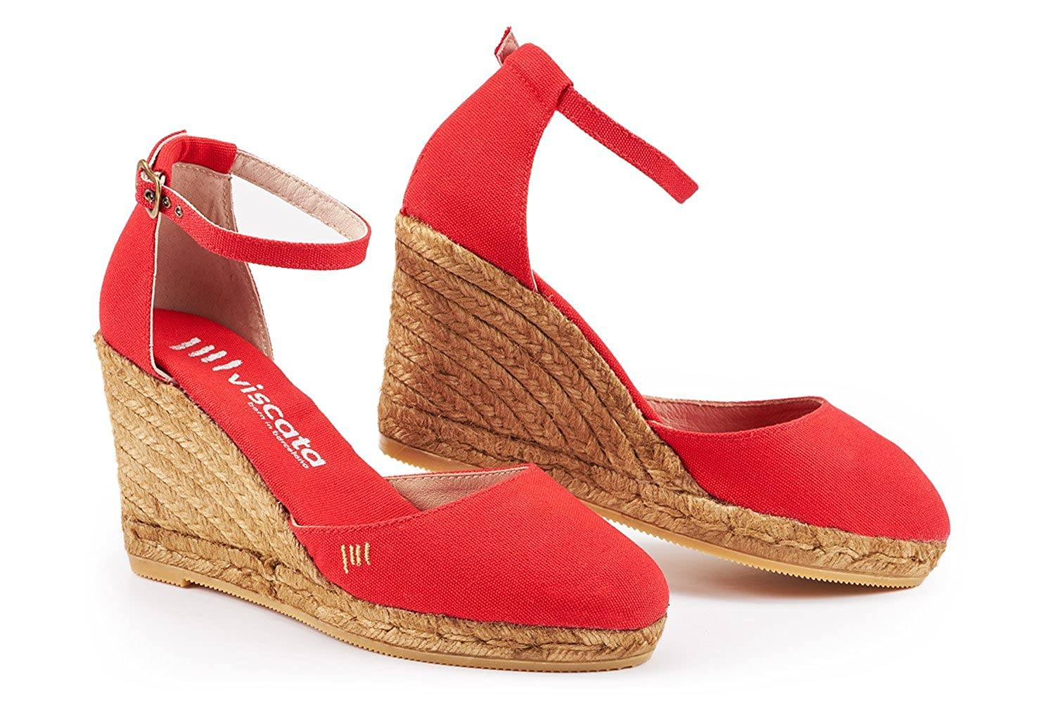 Viscata Red Canvas Wedge Espadrilles Heel Sandal - DeluxeAdultCostumes.com