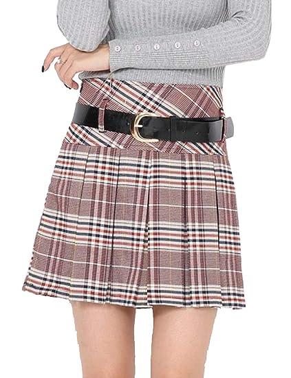 SOMTHRON Mujer Estilo Colegiala Falda Plisada de Cintura Alta ...