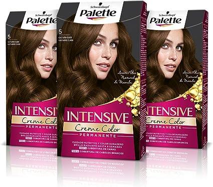 Schwarzkopf Palette Intensive Creme Color - Tono 5 cabello Castaño Claro (Pack de 3) Coloración Permanente de Cuidado con Aceite de Marula, Perfecta ...