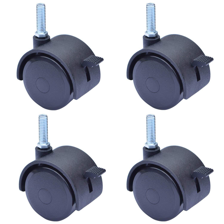 2 Inch Stem Casters with Brake Swivel Caster Wheels Brake Locking Locks Screwed Bolt 5 16 x 1 18 4 Pack CasterStem50 8x25
