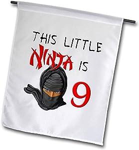 3dRose Macdonald Creative Studios – Birthdays - This Little Ninja is 9 a Great Birthday Ninja Gift for Any Kid Party - 12 x 18 inch Garden Flag (fl_318308_1)