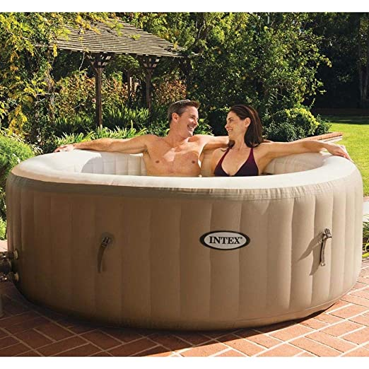 vidaXL Intex Bañera Hidromasaje Jacuzzi Hinchable Marrón SPA ...