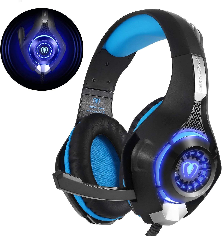 Beexcellent GM-1 - Auriculares Gaming para PS4, PC, Xbox one, PlayStation - Psone, Cascos Ruido Reducción de Diademas Cerrados Profesional con Micrófono Limpio Sonido 3.5mm, Azul
