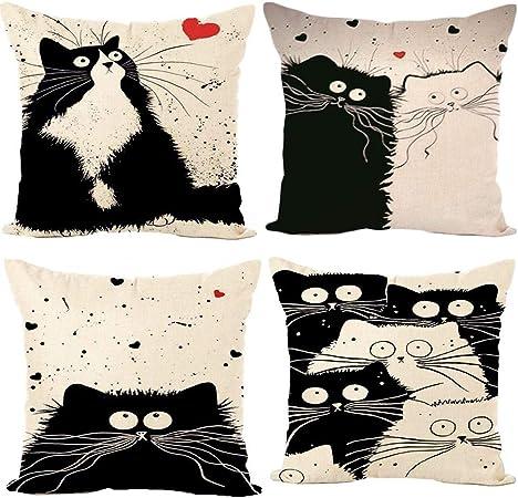 Gspirit 4 Pack Gato Algodón Lino Decorativo Throw Pillow Case ...