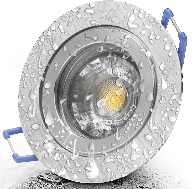 1 x Bad Einbaustrahler 12V inkl MR16 Fassung Farbe BiColor IP44 Deckenspot Neptun Eckig Einbauleuchte