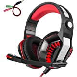 Gaming Headset for PS4 Xbox one, Beexcellent GM-2 Wired 3.5mm Gaming Over-Ear Headset with Mic LED Lighting Headphone for Computer, Tablet, Most Mobile Phone (Red)