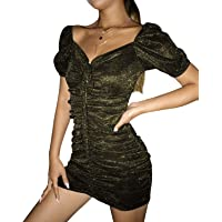 Auxo Mujer Sexy Fiesta Lentejuelas Vestido Ajustado Cocktail Club Básico Sin Hombros Vestido con Cordones/Vestido Club…