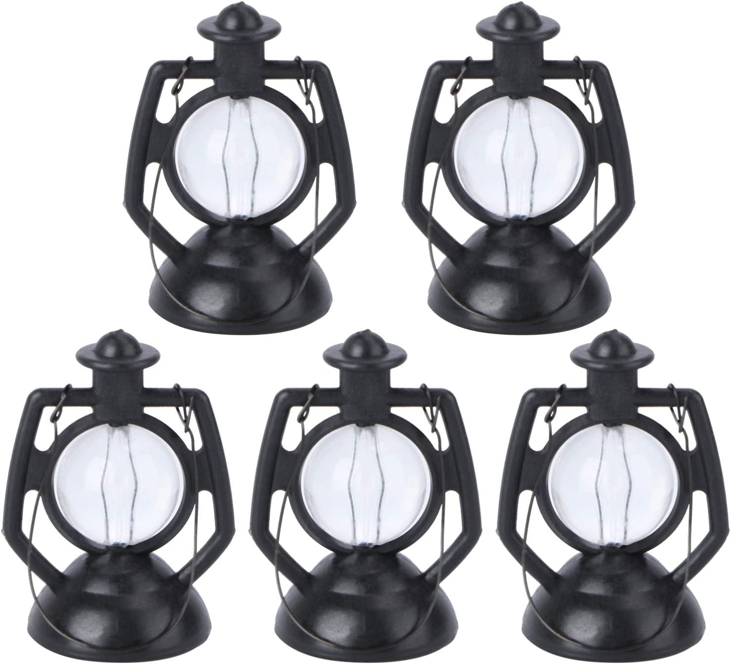 Kisangel 5pcs Dollhouse Miniature Lantern Mini Kerosene Lamp Light Dollhouse Miniature Decor Accessories (Black)