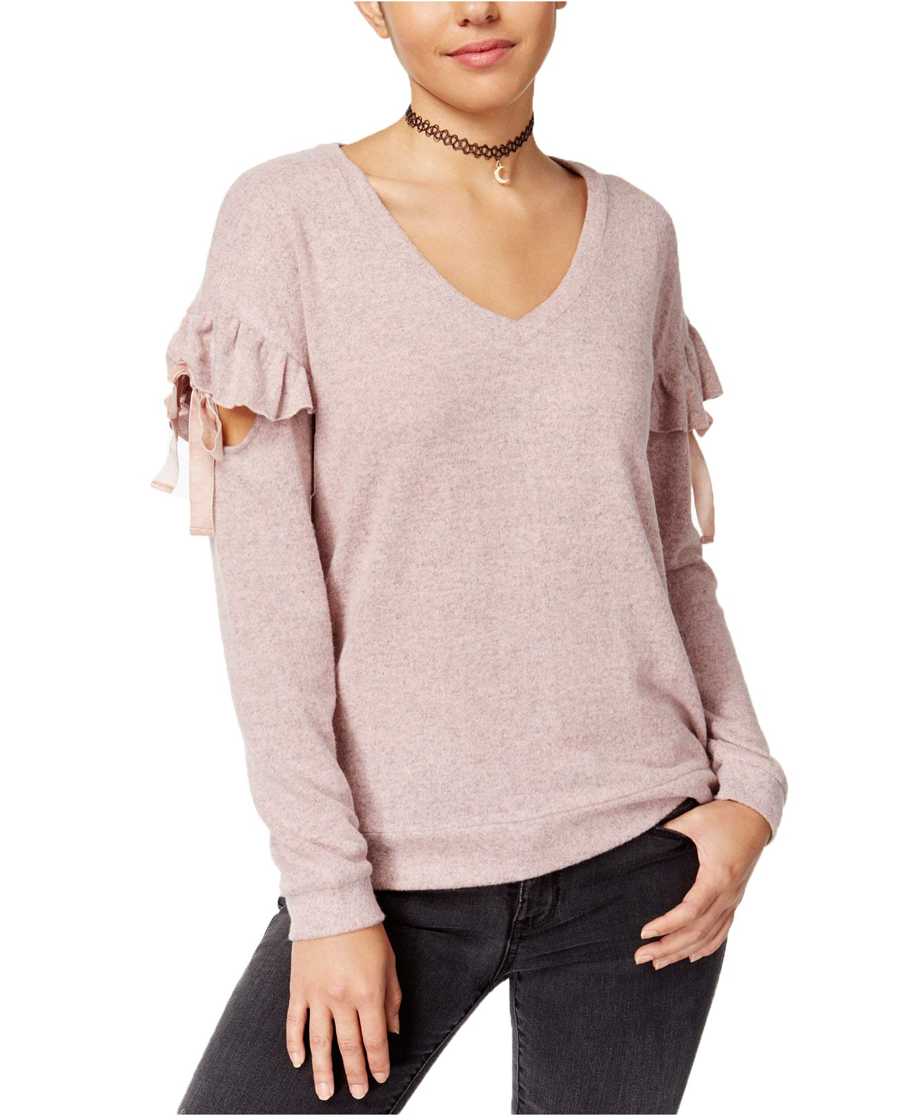 Almost Famous Junior's Ruffled Sweater (Small, Soft Pink)