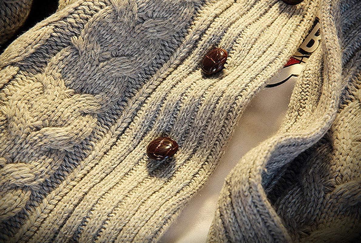 Mibuy Uomo Cardigan Bavero Cappotto Giacca Giubbini in Maglia Casual Manica Lunga Autunno Inverno Outwear Cappuccio Solida Trench in Maglia Giubbotto