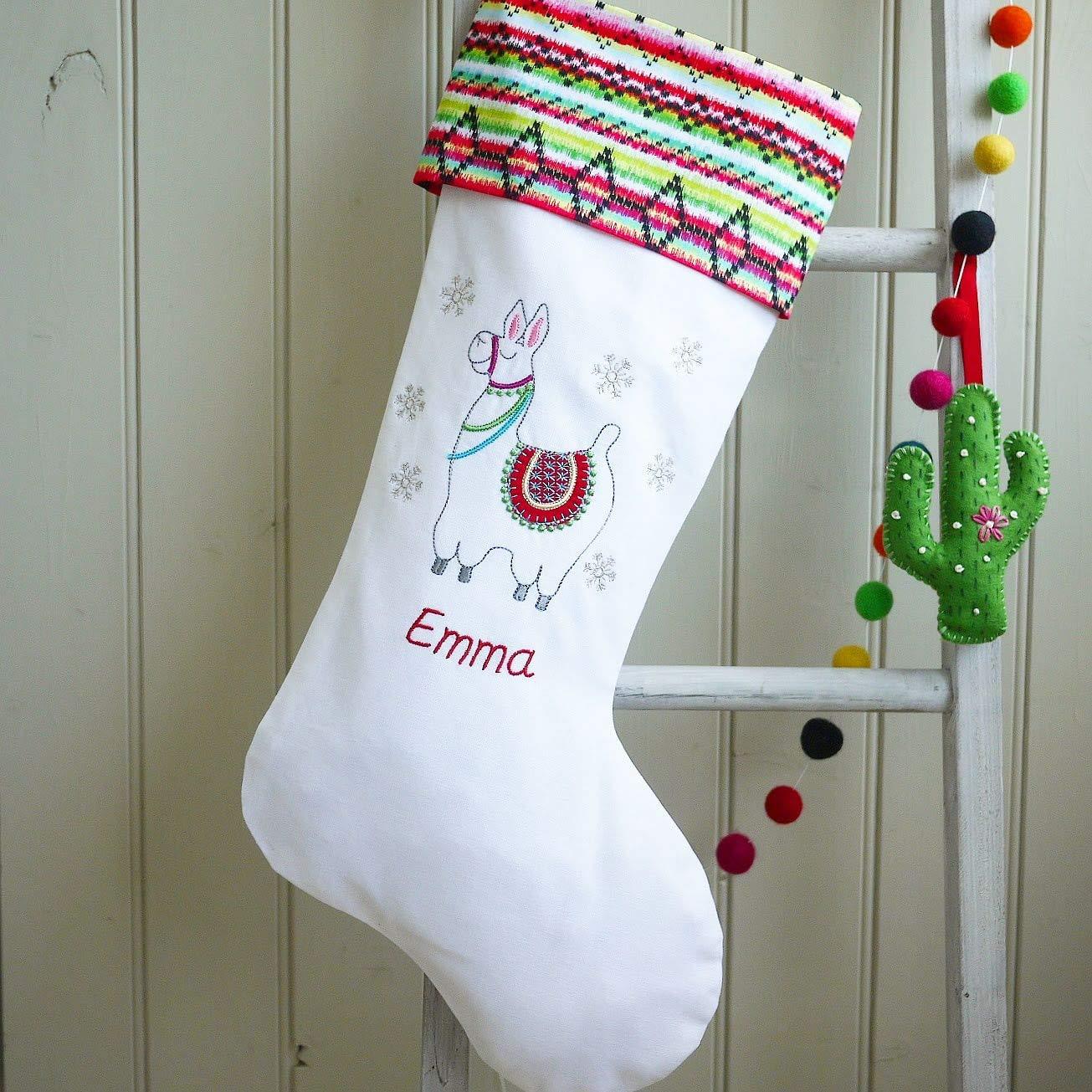 Llama Christmas Stocking.Llama Christmas Stocking Personalised Christmas Stockings
