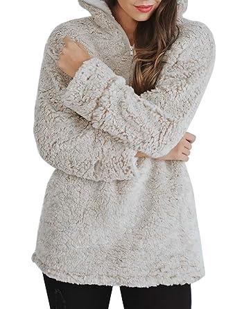 c02795c9412fba ZESICA Women s Autumn Winter Long Sleeve Zipper Sherpa Fleece Sweatshirt  Pullover Jacket Coat Beige