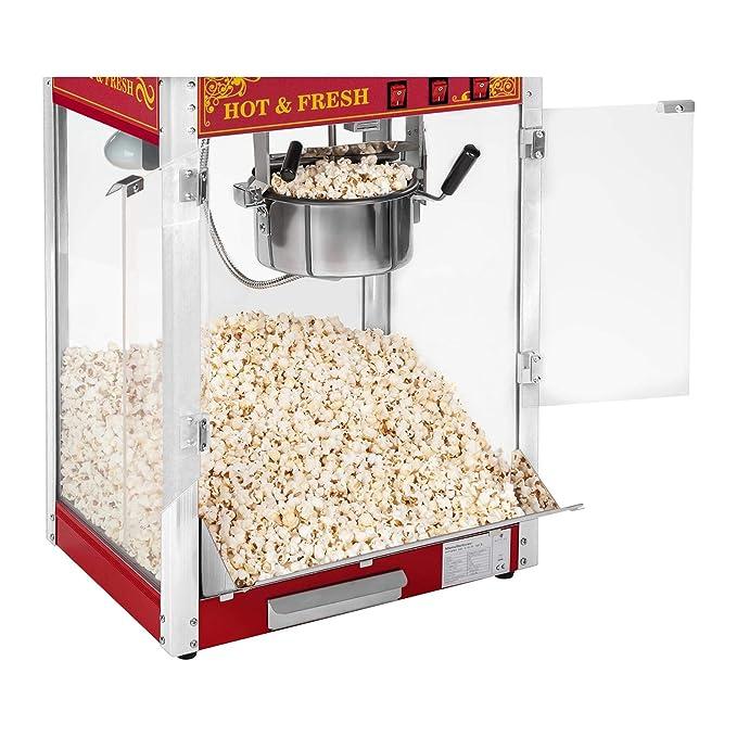 Royal Catering Palomitera Con Carrito E Iluminación LED Diseño Retro Rojo RCPW-16.3 Popcorn Machine LED Set (1600 Watt, Olla Con Revestimiento De Teflón): ...