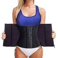 Bafully Womens Latex Tummy Control Weight Loss Waist Trainer Corset Body Shaper Zipper Hook Steel Boned