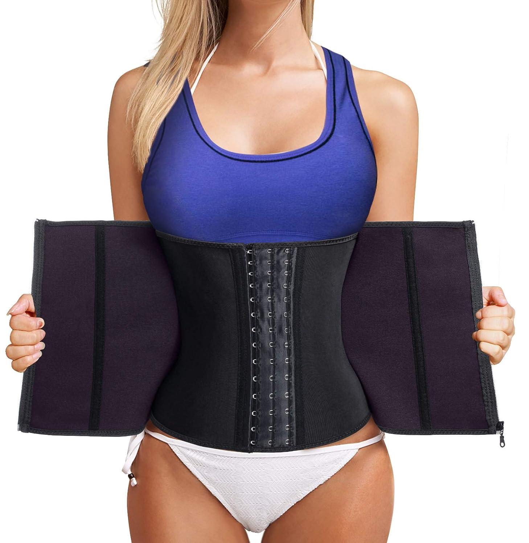 dc688d395 Bafully Womens Latex Tummy Control Weight Loss Waist Trainer Corset Body  Shaper with Zipper Hook Steel Boned  Amazon.co.uk  Clothing