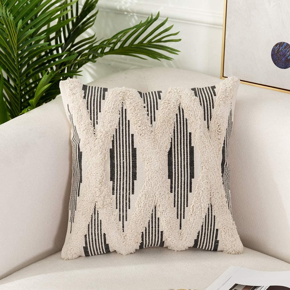 Amazon Com Ojia Decorative Throw Pillows Cover Ticking Striped Cream Gray Textured Pillow Cases Accent Cushion Covers Tufted Neutral Geometric Contemporary For Farmhouse Decor Living Room 18x18inch Stripe Home Kitchen