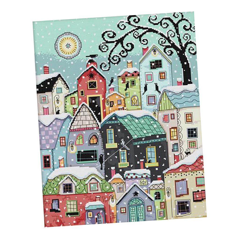 No Frame Winter Street Landscape 14ct 15.7 inches by 18.9 inches perfektchoice Stamped Cross Stitch Starter Kits Beginners Cross-Stitching Pre-Printed Pattern