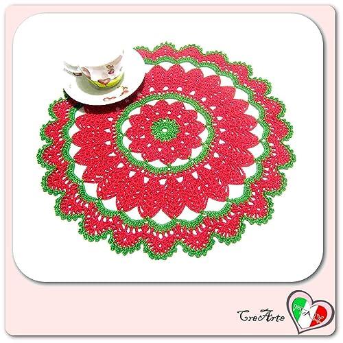 Tapete de ganchillo redondo rojo y verde para Navidad ...