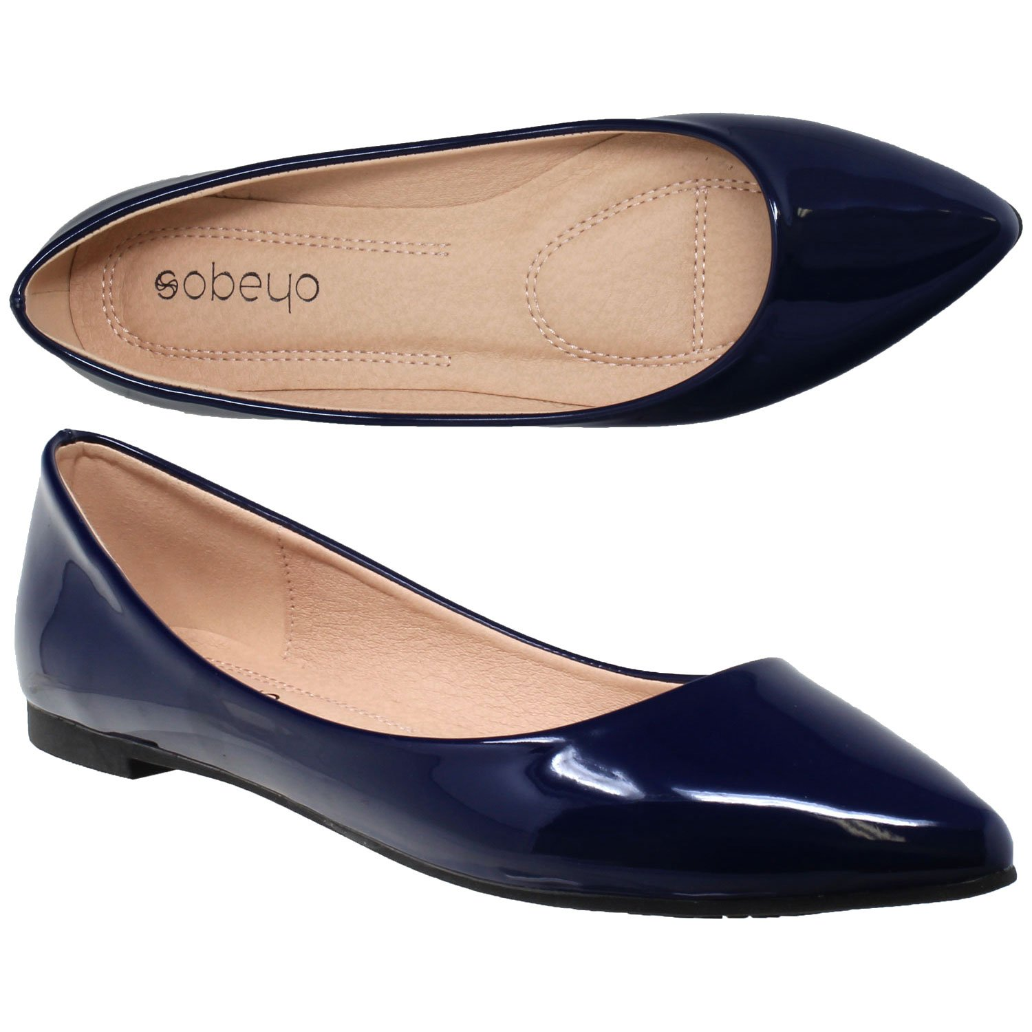SOBEYO Women Ballet Flats Pointed Toe Slip On Closed Toe Shoes Navy Patent SZ 9
