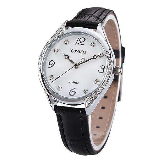 Comtex Reloj mujer blanco con correa de cuero,color negro: Amazon.es: Relojes