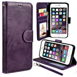 iPhone 6S Plus Case, iPhone 6 Plus Case, UrSpeedtekLive Luxury PU Leather Flip Wallet Case Cover with Card Slots Holer w/ Magnetic Closer & Stand for Apple iPhone 6S Plus / 6 Plus - Purple