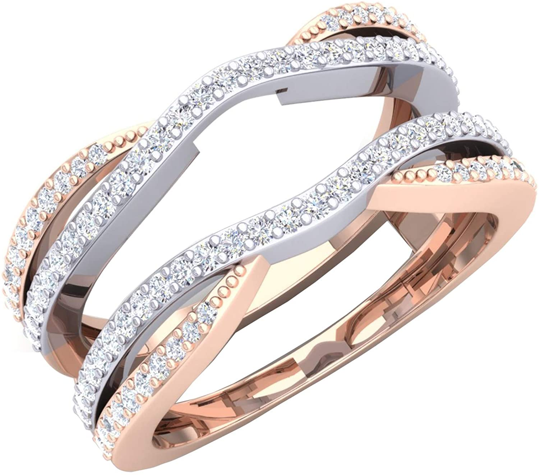 Dazzlingrock Collection 0.50 Carat (ctw) 10K White & Two Tone Round Diamond Ladies Wedding Double Chevron Ring 1/2 CT, Rose Gold