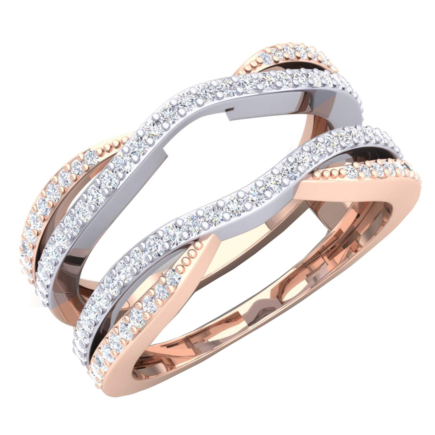 Dazzlingrock Collection 0.50 Carat (ctw) 10K White & Two Tone Diamond Wedding Band Guard Double Ring 1/2 CT, Rose Gold, Size 7.5
