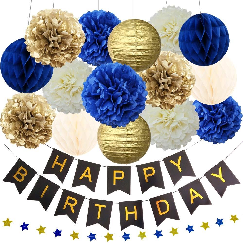 Navy Blue Gold Birthday Baby Boy Shower Party Decoration Kit - Happy Birthday Banner, 12'' 10'' 8'' Tissue Paper Pom Pom, Lantern, Honeycomb Ball, Star Garland by InBy
