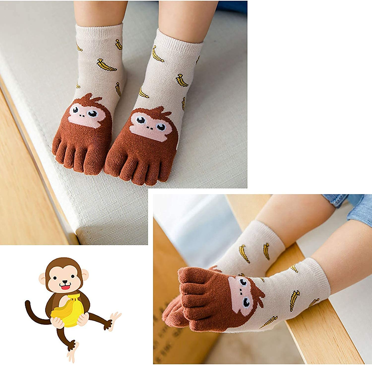 Kids Cute Animal Pattern Novelty Crew Socks Toddler Girls Boys Christmas Socks 4 pairs Kids Toe Socks Cotton Five Finger Socks 3-12 Years
