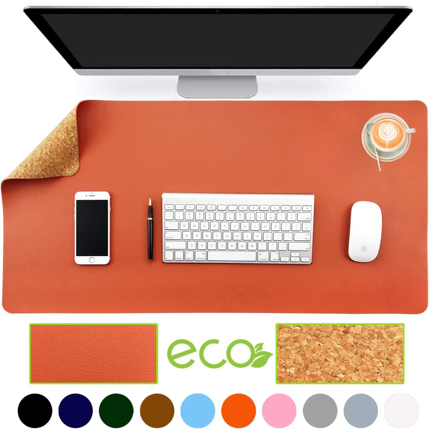 "Aothia Eco-Friendly Natural Cork & Leather Double-Sided Office Desk Mat 31.5"" x 15.7"" Mouse Pad Smooth Surface Soft Easy Clean Waterproof PU Leather Desk Protector for Office/Home Gaming (Orange)"
