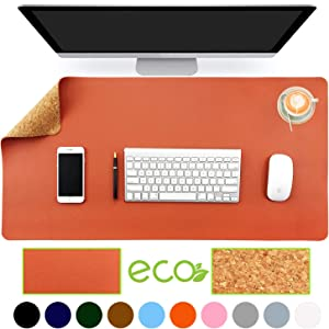 """Aothia Eco-Friendly Natural Cork & Leather Double-Sided Office Desk Mat 31.5"""" x 15.7"""" Mouse Pad Smooth Surface Soft Easy Clean Waterproof PU Leather Desk Protector for Office/Home Gaming (Orange)"""