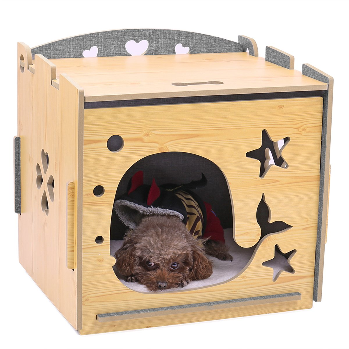 Speedy Pet Puppy Cat House, Wooden Kennel Cat Rabbits Kitten Condo Bed Pet Home for Small Animals 19.1'' L x 15.4'' W x 18.9'' H