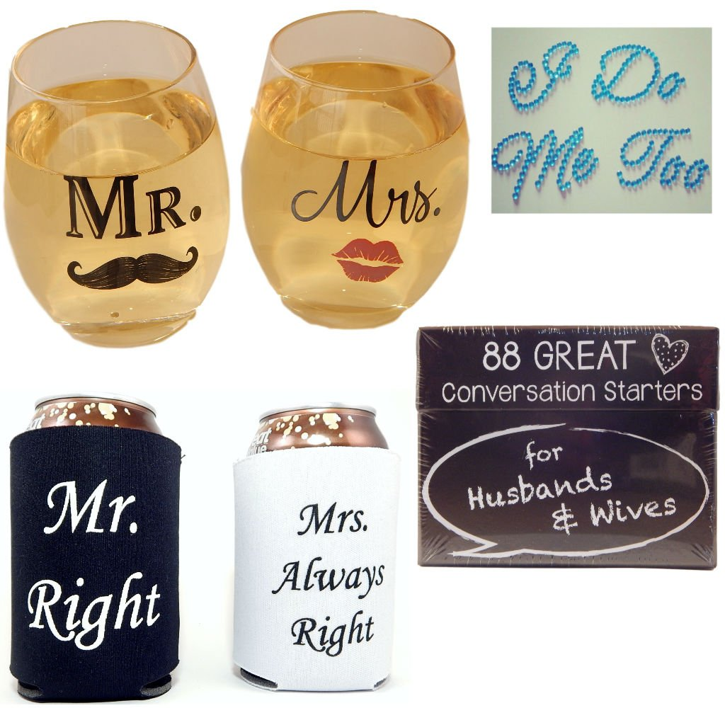 Bridal Shower Gift Bundle includes Mr & Mrs Wine Glasses, Shoe Stickers, Can Coolers and Conversation Starters for Husbands and Wives 15 oz glass or 10 oz plastic by 1 Big Dream