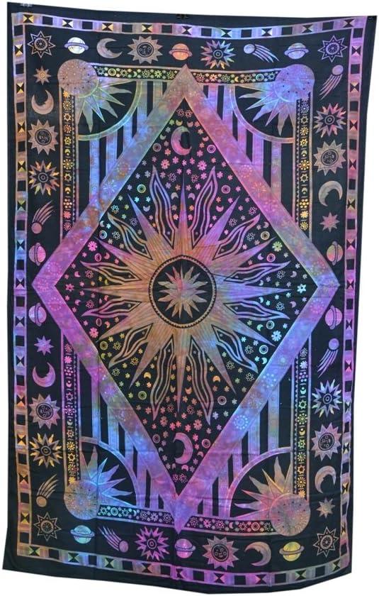 Celestial Sun Moon Stars TIE DYE Hippie Indian Wall Hanging TAPESTRY Bedspread