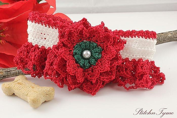 Amazoncom Crochet Lace Dog Collar By Stitchntyme Small Size 12