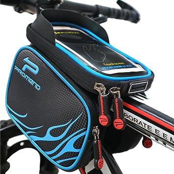 ba0aa2c647c XBoze Bolsa de Bicicleta Impermeable Bolsa Marco Frontal Superior Tubo  Bolsa Ciclismo Movil con Desmontable y Pantalla Táctil para Smartphone  Hasta 6,2 ...
