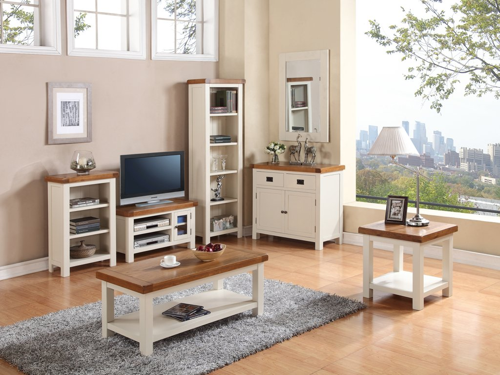 Superb Alba Painted Oak Small Coffee Table With Shelf   Finish : Oak Stone Painted  White Grey Finish   Living Room Furniture: Amazon.co.uk: Kitchen U0026 Home Part 13