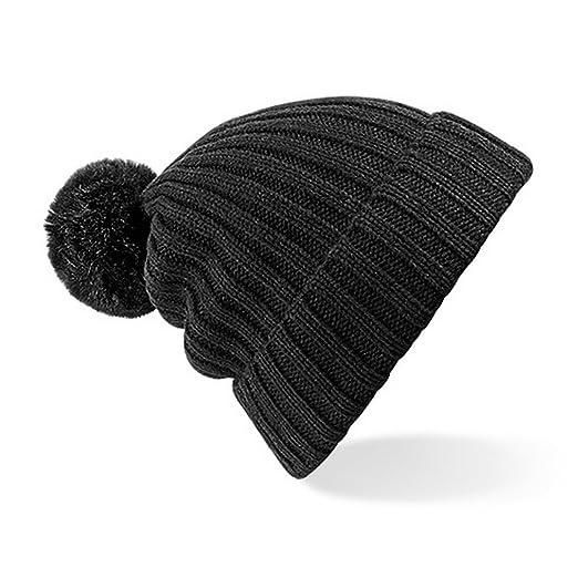 Beechfield Womens Ladies Arosa Winter Bobble Beanie Hat (One Size) (Black) c1068e4d8d0