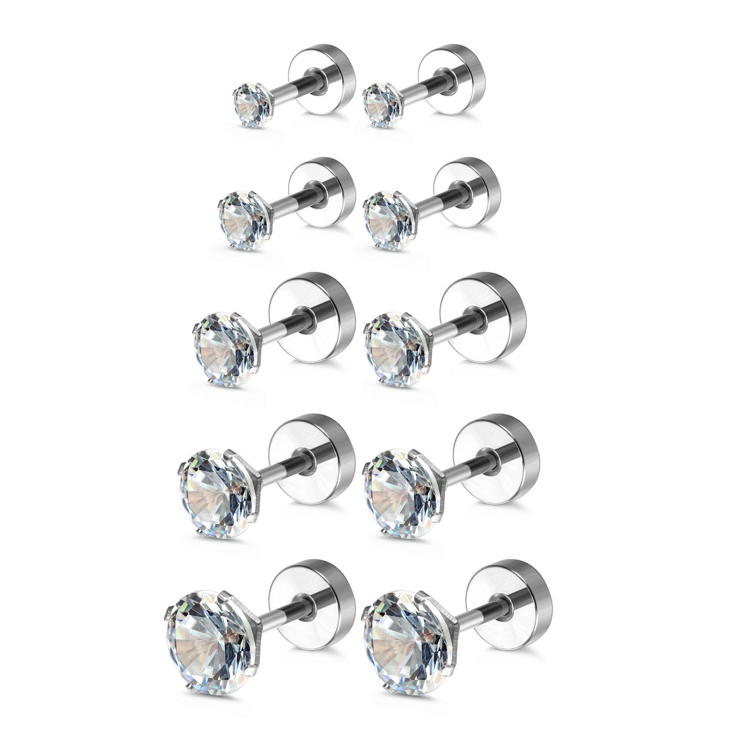dc8258f54 ... Charisma 16G 5 Pairs Stainless Steel Stud Earrings Piercing Tragus Cubic  Zirconia Cartilage Screw Back Helix ...