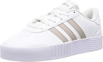 Adidas Court Bold Contrast Side Stripe Lace-Up Skateboarding Shoes for Women
