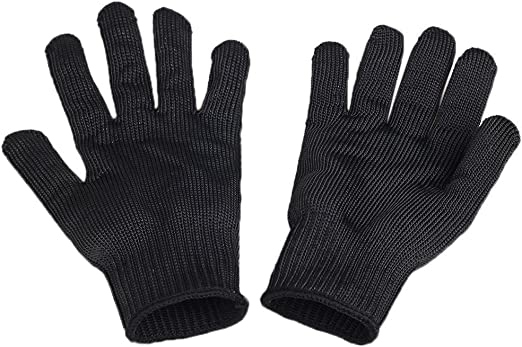 UK Black Cut Proof Stab Resistance Stainless Steel Wire Butcher Fishing Gloves
