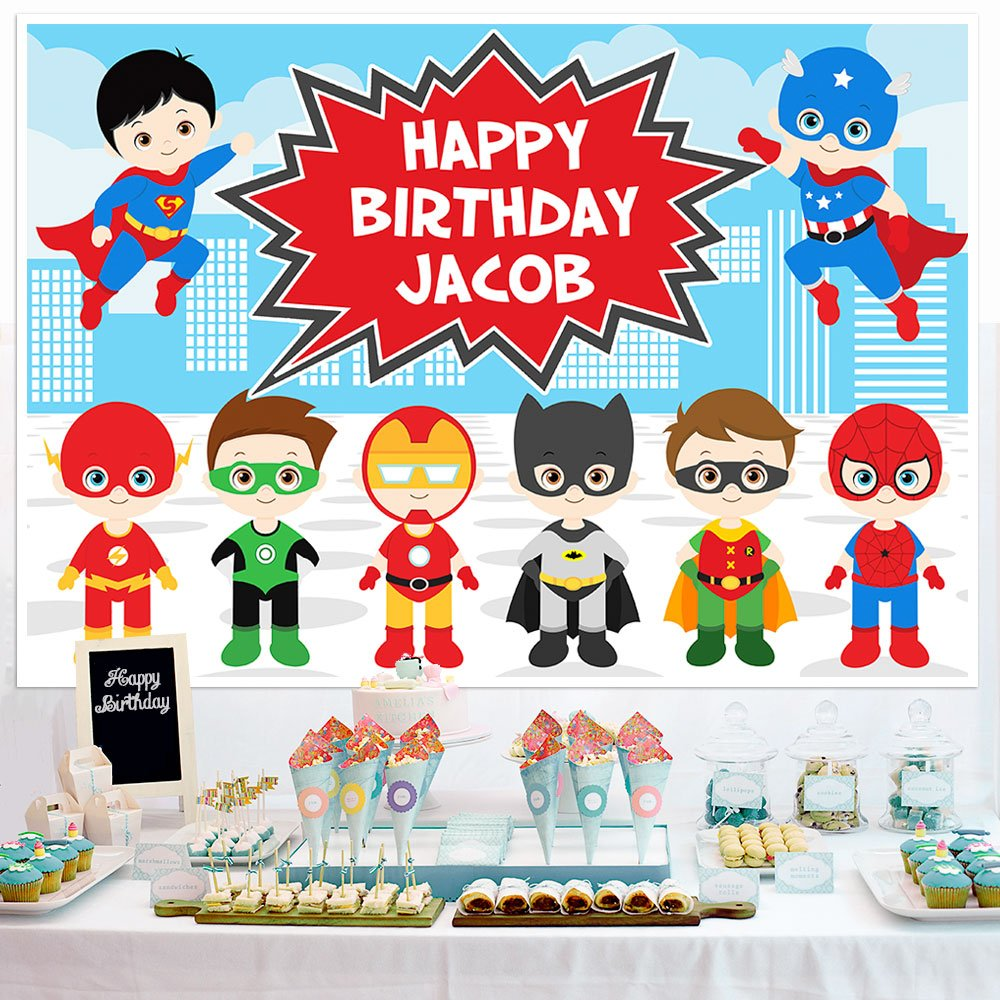 Superhero Birthday Banner Dessert Cake Table Personalized Party Backdrop